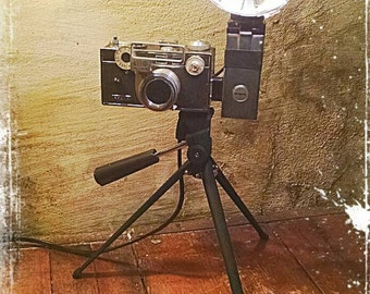 Upcycled retro Argus C3 Camera Lamp with travel tripod and a touch of Steampunk flair