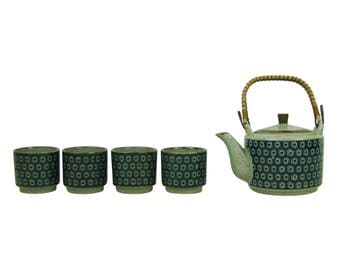 Vintage 1970s Geometric Pattern Stoneware Teapot with Lid, and Bamboo Wicker Rattan Handle and 4 Sake Tea Cups, Tea Pot with Hexagons & Dots