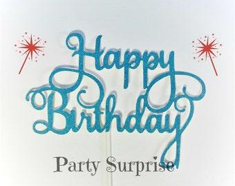 Blue Happy Birthday Cake Topper Men Boys Women Girls Blue Birthday Cake topper Happy Birthday Party Decoration