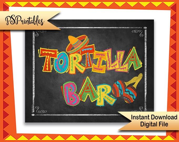Printable Fiesta TORTILLA BAR sign, Fiesta sign, Mexican party sign, chalkboard printable, wedding fiesta, mexican Birthday Fiesta sign