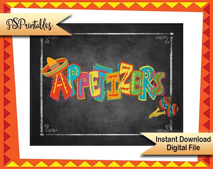 Printable Fiesta Sign, Appetizers sign,  DIY fiesta decor, cinco de mayo fiesta sign, wedding fiesta, birthday fiesta, shower fiesta sign