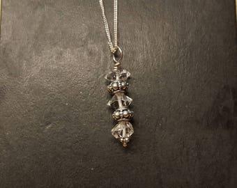 Raw Herkimer Diamond Pendant. Sterling silver April birthstone necklace.  High vibration Reiki jewelry