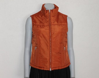 Women Vest Puffy Vest Winter Waistcoat  Puffer Orange  Warm Vest Women's Puffy Vest Sleeveless Jacket Medium Size