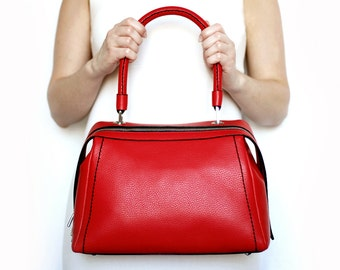 Free shipping! Red leather bag, red bag, leather bag, red handbag, red tote, handle tote, everyday bag, tote bag, leather handbag
