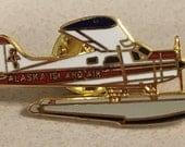 Vintage Alaska Island Air Pin Sea Plane Airplane Airline Tie Tack Pilot Vacation Memento Collectible Aviation