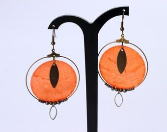 Creole earrings Pearly orange