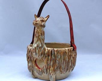 Handmade Llama Alpaca Yarn Bowl, knitting bowl, decorative yarn bowl, rustic yarn bowl.