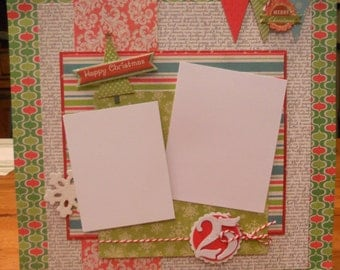 "12x12 premade scrapbook page. ""Happy Christmas"""