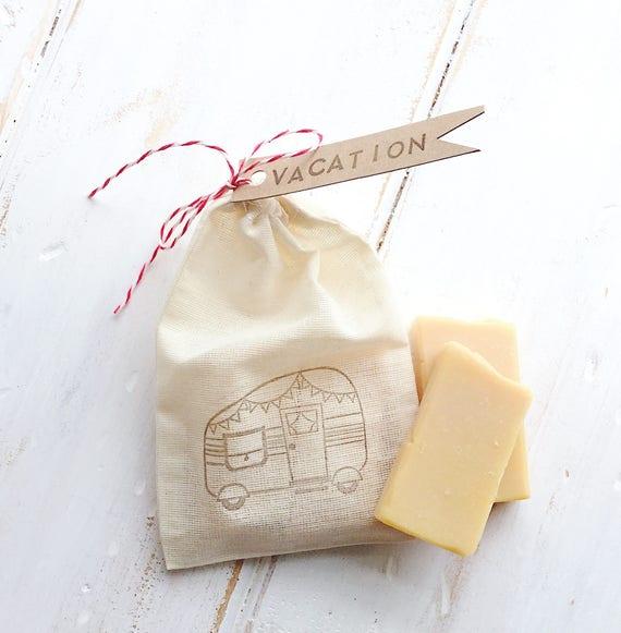 VACATION with Lemon Travel Soap Bar Set | Travel Muslin Bag | Two 1 oz Bars