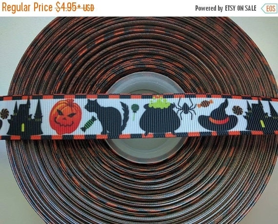 "HOT DEAL Halloween Witch Cat Pumpkin Cauldron 7/8"" 22mm Grosgrain Hair Bow Craft Ribbon 782614"