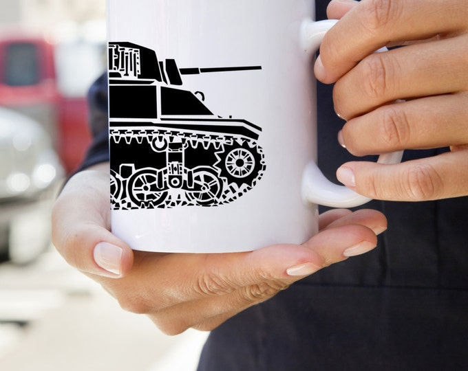 KillerBeeMoto:  U.S. Made World War 2 M3 Stuart Tank Coffee Mug (White)