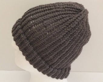hand knitted beanie hat for man and woman, knitted grey beanie, grey toque, man's beanie hat, knitted beanie hat, winter beanie hat