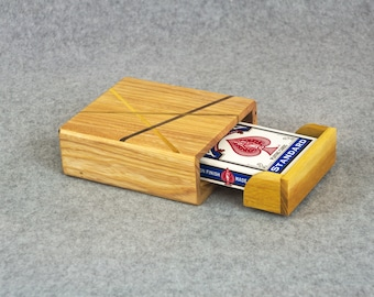 Playing Card Case - Handmade from Ash - Accented with Thin Strips of Walnut, Locust & Sassafras - Storage Box for 1 Deck - Easy Deck Removal
