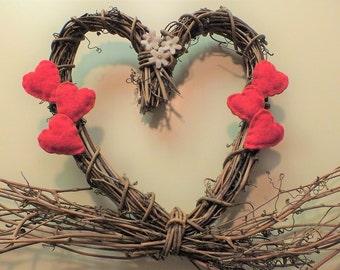 Vintage Primitive Grapevine Heart Wreath