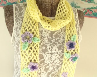 Crochet Skinny Scarf Yellow Lavender Green Spring in My Step Soft Lightweight Airy Garden Trellis Shabby Chic
