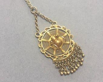Vintage Silver Gilt Spider Pendant Necklace