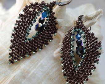 LEAF EARRINGS, dangle earrings, drop earrings, evening earrings, tribal earrings, Australian jewellery, hand made earrings, jane bari design