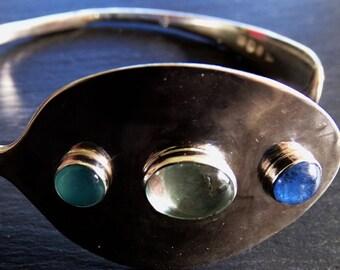 C antique spoon bangle- chalcedony, aquamarine and sodalite