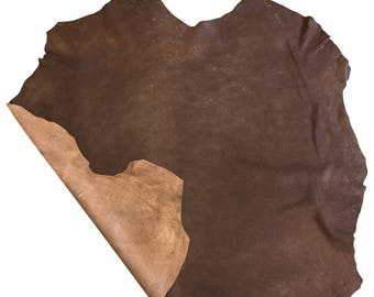 DISCOUNTED Brown full leather skins with a rustic finish in genuine lambskin leather fabric FS925