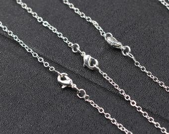 """20"""" Silver Plated Chain With Losbter Clasp Wholesale Bulk Sale Handmade Craft Supply Accessory Charm Necklace"""