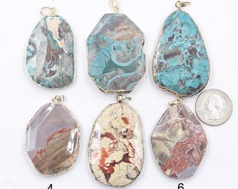 Ocean Jasper Pendants -- With Electroplated Gold Edge Charms Wholesale Supplies natural gemstone pendant YHA-237