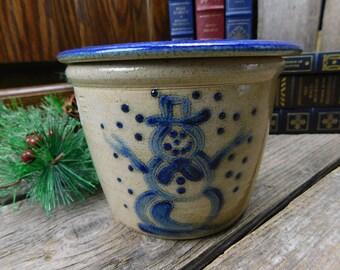 Vintage Shadowlawn Potteries - Delavan, WI - 2 Piece Dip Server - Snowman