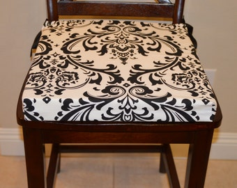 Black On White Damask Chair Cushion Cover, Premier Prints Traditions,  Removable, Washable Cotton