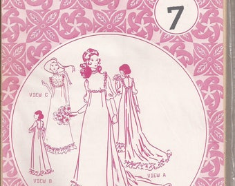 Patterns Pacifica 309 Wedding gown and formal gown variations. Size 7, Vintage 1970's