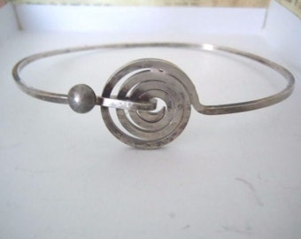 VINTAGE MODERNIST .925 SILVER Bangle Bracelet Concentric Circle