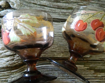 Cherry cordial enameled stemware / tawny enameled glassware / light brown smokey glassware