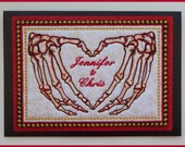 Machine embroidered, personalised skeleton hands heart, padded fabric art card, valentines, anniversary, wedding, black card, 8in x 5.3/4in.