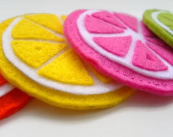 Drink Coaster, nieuwe huis cadeau, citrusvruchten Coasters, Fruit Coaster, Set van 4, vilt Coasters, thee cadeau, House Warming Gift
