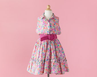 Vintage Colorful Floral Sleeveless Dress (Girls Size 16)
