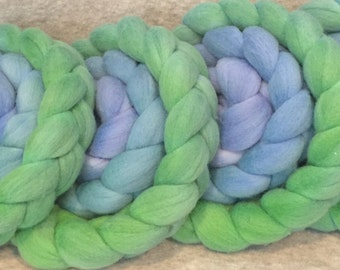 Hand Dyed Merino Top - Blueberry and Lime