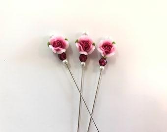 Dark Pink Rose Counting Pin-Lapel Pin-Scarf Pin