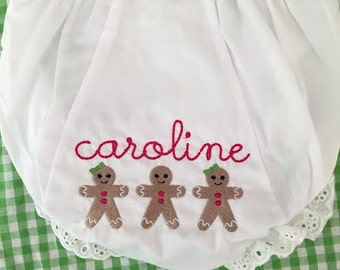 Monogrammed Christmas  Bloomers Personalized Diaper Cover-Gingerbread Trio