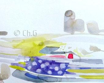 Original Watercolor, Urban  Landscape,grey,yellow, Painting, 15 x 56 centimeters,Paris watercolor, expressive,movement