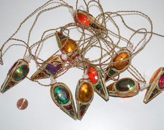 Vintage Jewel Christmas Lights Strand Multi-Colored Gold Working