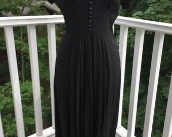 "Vintage 1940"" black crepe day dress medium"