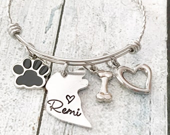Dog tag - Hand stamped dog tag - Custom dog tag - Dog tag with matching bracelet - Pet tag - Dog id tag - Personalized tag - Tag for pet