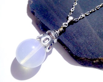 Opalite Goddess Globe, Fortune Teller Necklace, Magical Jewelry, Wiccan Jewelry, Metaphysical Jewelry, Wedding Jewelry, Pagan Necklace