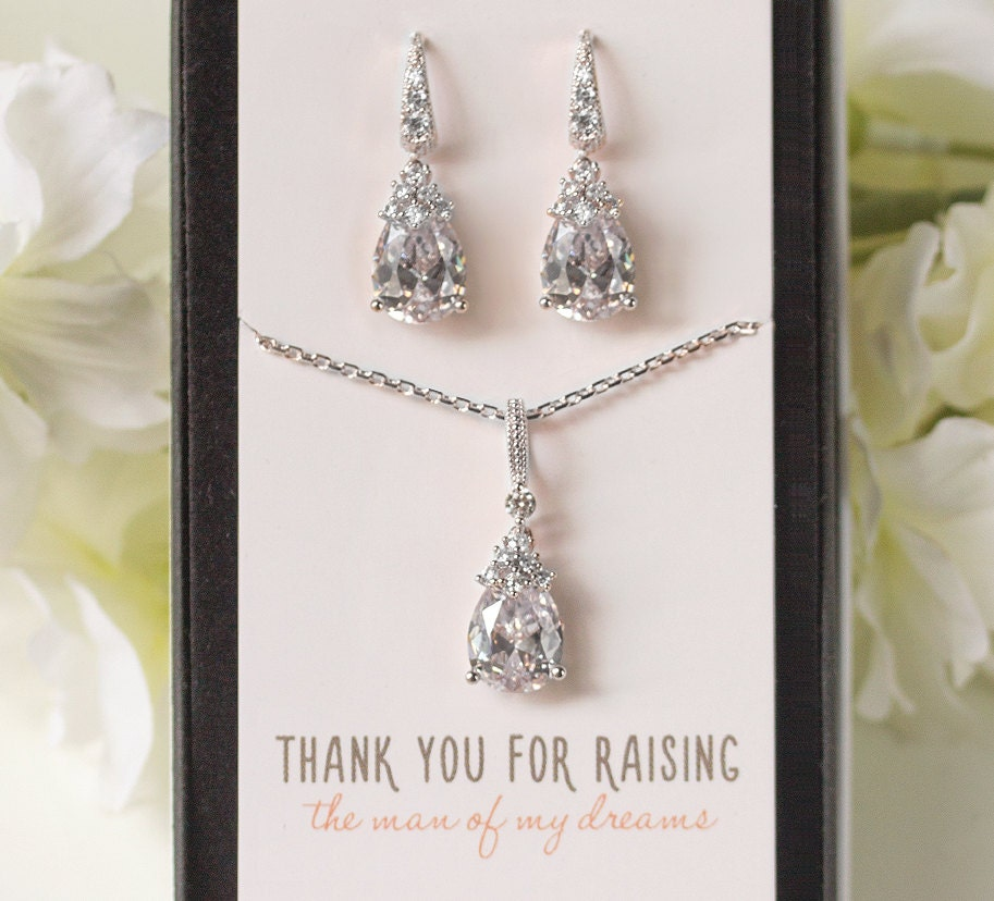 Mother Of The Bride Jewelry: Mother Of The Bride Groom Jewelry Set Drop Earrings Silver