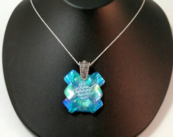 Blue Ice, Dichroic Glass Pendant, Layered and textured Dichroic Necklace,Dichroic Glass Jewelry, Fused Glass Jewelry,