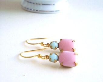 Pastel Pink Jewel Earrings, Mint Green, Vintage Rhinestone Earrings, Feminine Earrings, Bridesmaid Earrings, Gift for Her