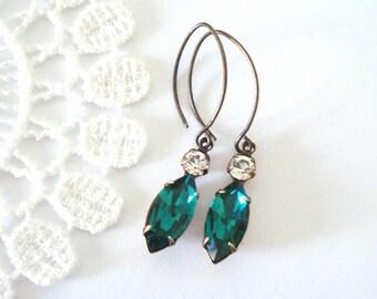 Antiqued Emerald Earrings, Vintage Rhinestone Earrings, Little Glass Jewels, Antiqued Brass Jewelry