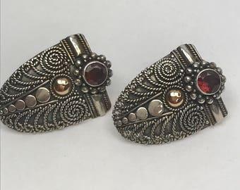 Sterling Silver 14k Gold Garnet Shield Medallion Post Earrings