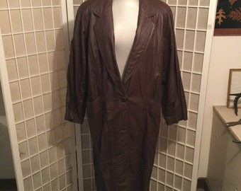 Huge Sale: Vintage Designer Leather Coat Large Perfect Condition Early 1980s