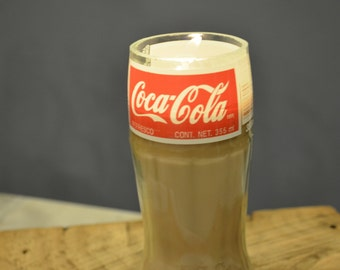 COKE Bottle SOY CANDLE, Upcycled Coca-Cola Container Candle, Hand Cut Recycled Bottle, Hand Poured, Scented or Unsented, Eco-Friendly