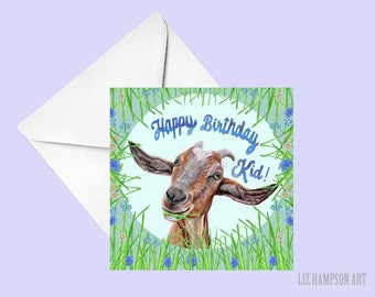 Goat Happy birthday card