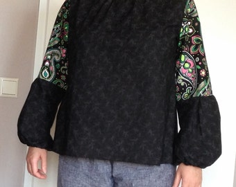 Womens bohemian blouse / Cotton long-sleeve top / Black blouse with puffy sleeves / 100% Cotton / Made to order / Sizes XS to XXL